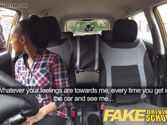 Fake driving school busty black girl licks pussy to pass