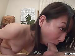 Horny asian babe fucking her missionary style