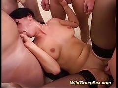 Sexy first rough bukkake orgy