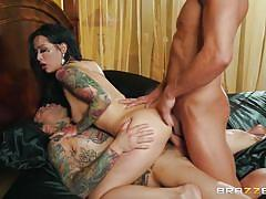 threesome, handjob, anal, babe, deepthroat, tattooed, from behind, reverse cowgirl, mmf, porn stars like it big, brazzers, small hands, katrina jade, xander corvus