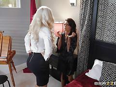 milf, blonde, lesbians, big tits, rimjob, kissing, caught masturbating, vibrator, brunette, pussy eating, hot and mean, brazzers, nicolette shea, kimber veils