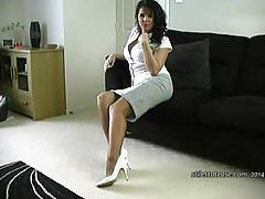 Horny milf talks dirty to you about cuming inside her sexy stiletto heels