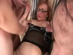 Italian mature - 3 man gang bang