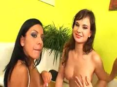 Two girls and two guys swapping nasty jizz
