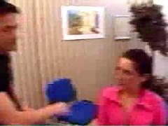 Milf takes boy in her office