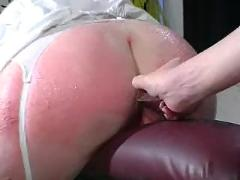 Redhead slut bonded and spanked by lezzies
