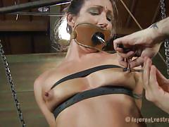 Hanged and tied slut