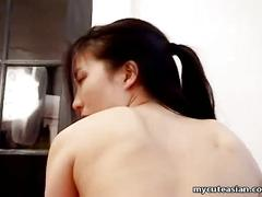 Shaved pussy japanese slut gives blowjob