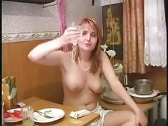 Russian woman has dinner and masturbates