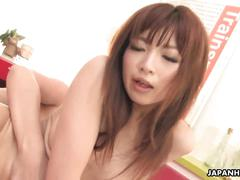 Asian brunette rides the hard cock with her hairy cunt