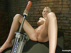 milf, blonde, solo, kinky, fucking machine, big dildo, huge boobs, shaved pussy, fucking machines, kink, riley evans, riley evans, fucking machines, kinky dollars