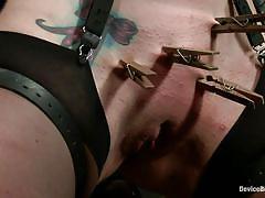 milf, tattoo, bdsm, stockings, tied up, pussy torture, basement, bondage device, clothespins, restraints, device bondage, kink, siouxsie q, siouxsie q, device bondage, kinky dollars