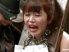 milf, bdsm, asian, dildo, brunette, mouth opened, bondage device, shackles, device bondage, kink, marica hase, marica hase, device bondage, kinky dollars