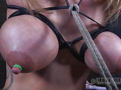 Hard cock sucking with tits on fire
