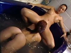brunettes, lesbians, pornstars, showers