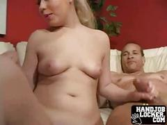 Blonde chick enjoys jerking cock off