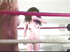 Nude female wrestlingmatch in the ring
