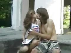 Young teen couple fucked outdoor