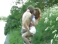Young teen couple fucked outdoor