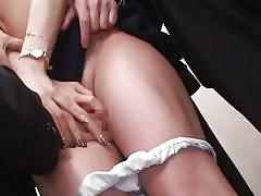 Asian girl surrounded by horny men