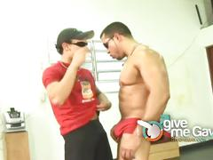 Latino hunks enjoys hard sex after their training.
