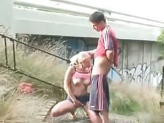 Couple exhibe and makes love outdoor