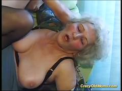 Cray old mom gets fucked hard with a big cock taking cum