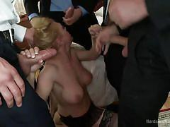 Blonde gang banged by men in suits