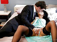 babe, stockings, kissing, fingering, undressing, black hair, sweet sinner, adriana chechik, james deen