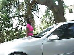 Curvy black slut washes cars and sucks blacks