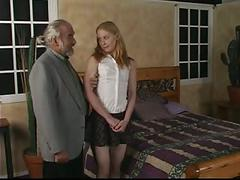 Hot blonde babe caught masturbating spanked on bed