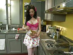 Sex doll has a modern kitchen
