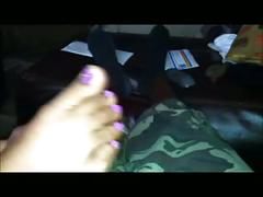 Purple toes footjob