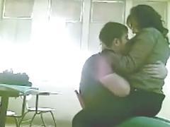 Lovers in class room fun
