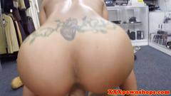 Real doggystyling ebony in pov pawnshop fuck