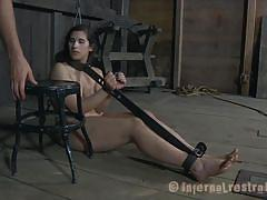 milf, bondage, bdsm, brunette, mouth fuck, dark, anal insertion, bondage device, executor, mouth gagged, restraints, infernal restraints, marina xx, marina xx, infernal restraints, kinkster cash