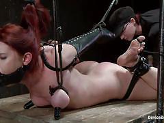 Redhead tied up&dildo fucked