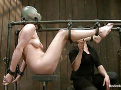 milf, bdsm, vibrator, suffocation, clamps, bondage device, restraints, latex mask, metal frame, device bondage, kink, star x, star x, device bondage, kinky dollars