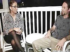 Big titted milf jerks off a young guy