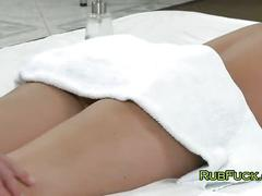 Babe fucking and sucking cock to masseur
