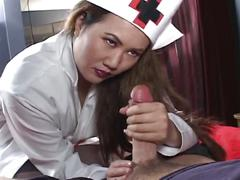 Big tits asian nurse has special treatment method.