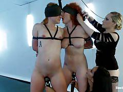 milf, bdsm, lesbians, redhead, foursome, stockings, vibrator, pussy licking, blindfolded, brunette, tied up, electricity, electro sluts, kink, aiden starr, audrey hollander, isis love, claire robbins, aiden starr, audrey hollander