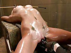 Oiled blonde punished
