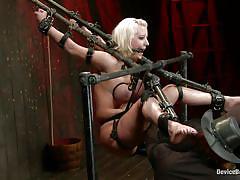 milf, blonde, bdsm, busty, vibrator, fingering, tits torture, bondage device, restraints, metal frame, device bondage, kink, cherry torn, orlando, cherry torn, orlando, device bondage, kinky dollars