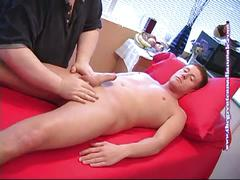 Amateur sucking big cock while massaging