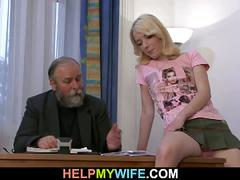 Hot young wife cuckolds her old husband