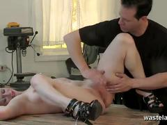 Blonde slave with tight body tied and toyed deep
