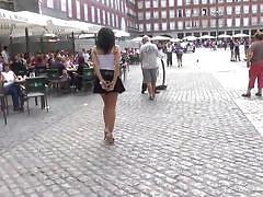 Brunette slut is disgraced in the street