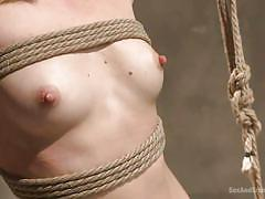 small tits, bdsm, hanging, whipping, blowjob, submission, blonde babe, ball gag, rope bondage, sex and submission, kink, mona wales, mr. pete