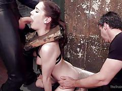 Small tits bitch getting worked up in the basement